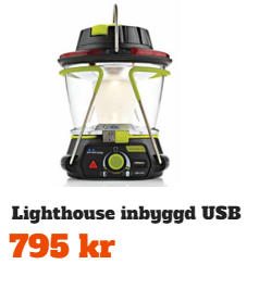 Lighthouse Solcellslampa med USB laddare och vev